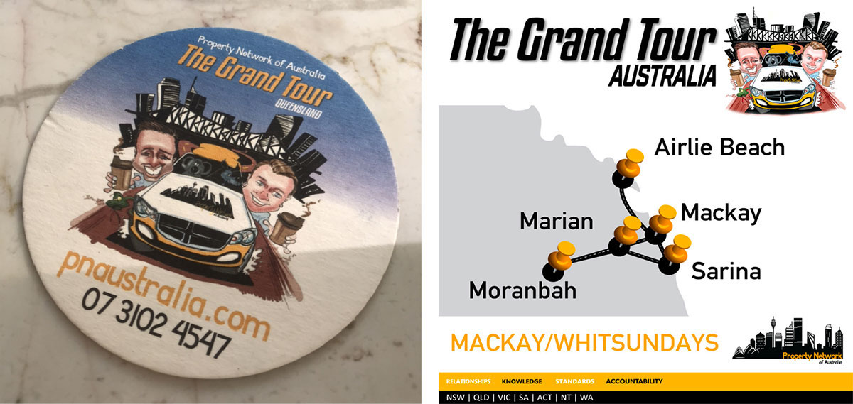 Propert Network of Australia Grand Tour coaster and map